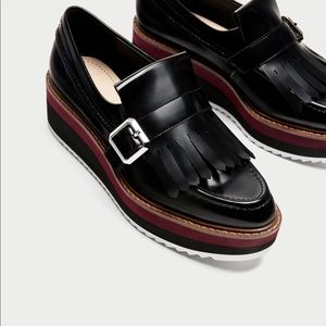 Zara Platform Loafers with Fringe